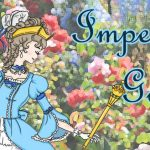 """an illustrated lady in a frilly rococo-style blue dress is pictured against a floral garden background; the words """"Imperial Garden"""" are written in a cursive font"""